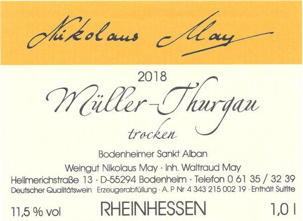 Weingut Nikolaus May Müller Thurgau 2018